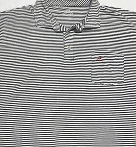 Peter Millar Mens White Gray Alabama Tide Striped Polo Shirt Sz XL