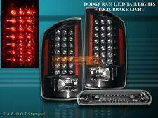 07 08 09 DODGE RAM 1500 2500 3500 TAIL LIGHTS BLACK LED W/ 3RD BRAKE LIGHT SMOKE
