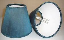 6 Candle Lampshades in Blue Silk
