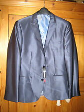 Goodsouls Mens New Tailored Fit Shine Navy Blue Jacket 42 inch Chest - Regular