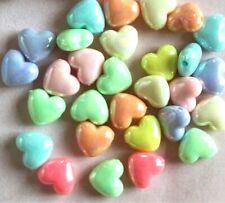 100 pcs acrylic heart pastel colours beads 12mm kawaii rainbow