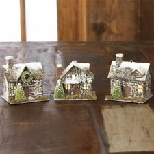 "Raz Import~4"" Christmas Lighted Cabin House Ornament~Set 3~Putz/Paper Mache/tree"