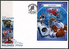 MALDIVES 2018 ICE HOCKEY SOUVENIR SHEET FIRST DAY COVER