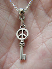 """SKELETON KEY & PEACE SIGN Necklace Love Rock Roll 1"""" Charm 21"""" Silver Chain NEW!"""