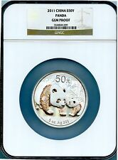 2011 CHINA 50Y 5 OZ SILVER PANDA  NGC GRADED GEM PROOF GORGEOUS WOWOW!!
