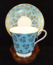 Aynsley Bone China Tea Cup Set # 2967 Sky/ Aqua Blue with Gold Flowers