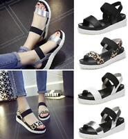 Womens Girl Open Toe Ankle Strap Flat Sandals Platform Shoes Wedges Plus Size 40