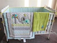2019 Infant 5pcs Bedding Set Elephant Baby Crib Nursery Quilt Skirt Sheet Bumper