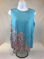 J.Jill Women's Blue Multicolor Paisley Sleeveless Love Linen Tank Top Sz SP