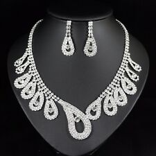 Feather Clear Austrian Rhinestone Necklace Earring Set Bridal Prom Pageant N70