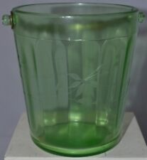 Vintage Green Depression Glass Ice Bucket With Etched Flowers