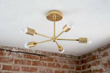 Modern Chandelier Gold Five 5 Arm Pinwheel Bulb Brass Sputnik Mid Century