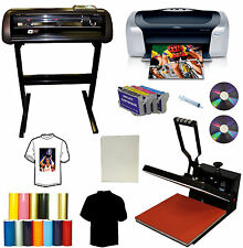 "24"" 1000g METAL Vinyl Cutter Plotter,15x15 Heat Transfer Press,Printer,Ink,PU PK"