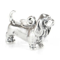 Basset Hound charm Dog Charm Pendant solid 925 Sterling Silver 3D .925