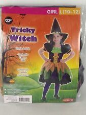 Girls Tricky Witch Halloween Costume Large L 10-12 Multi-Colored Dress Hat New