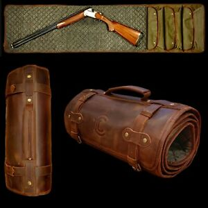 Shotgun Rifle Cleaning Mat  | USA | Leather Cover Waxed Canvas & Wool.