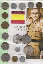 ESPAÑA, todas las monedas que circularon en la época de Franco. 15 monedas