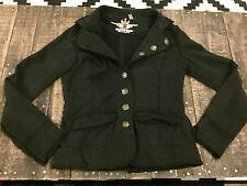 Twisted Heart sweatercoat jacket button up pocket boho vintage distressed boho S