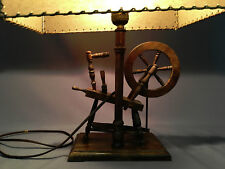 Unique Vintage WOOD SPINNING WHEEL LAMP with possible leather lamp shade?