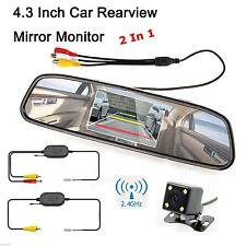 4.3Inch LCD Mirror Car Rear View Monitor +Wireless 170 Degrees Parking Camera
