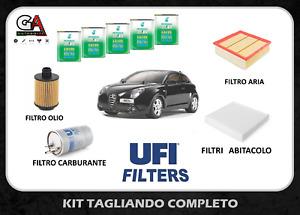 Kit tagliando Alfa Mito 1.6 JTDM 115 120cv 85 88 kw UFI +5l Olio selenia WR 5w30