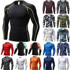 Mens Long Sleeve Compression Quick Dry Shirt Base-Layer GYM Sports Fitness Tops