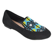 Womens Slip on PUMPS Aztec Embroidered Beaded Ladies Summer Loafers Shoes UK 7 / EU 40 / US 9 Black Faux Suede