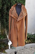 RICK OWENS BROWN MATTE LONG BIKER TRENCH COAT SOLD OUT henna CYCLOPS IT 42 US8