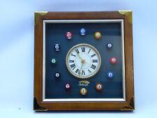 Pool Ball Wall Clock Wooden & metal accents. Miniature balls Quartz movement