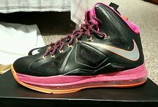 Size 12.5 Nike LeBron X 10 Floridian 541100 005 Fireberry Orange Black Silver