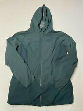 Womens LULULEMON Green Hooded Zip Up Pinstripe Dance Studio Jacket Sz 12