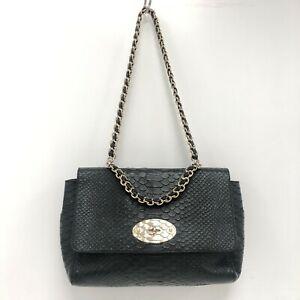 Mulberry Top Handle Lily Handbag Black Snakeskin Print Gold Chain Bag 301385