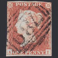 W33 GB QV 1841 1d RED-BROWN PLATE 100 (SG8) 'AI' GU THAME (789) NR 4 MARGINS