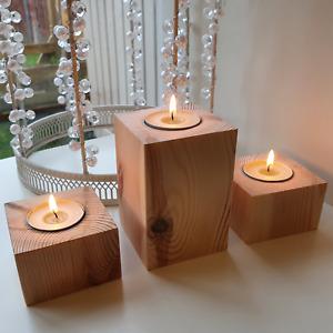 Rustic Wooden Tea Light Candle Holders Redwood Handmade In UK Set Of 3 Gift