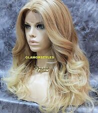 Long Loose Wavy Medium Bleach Blonde Mix Lace Front Full Wig Heat Ok Hair Piece
