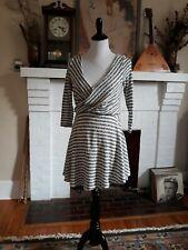 Free People Maverick Dress Womens Size M Black White Stripe 3/4 Sleeve