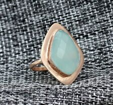 Solid 925 Sterling Silver Chalcedony Gemstone Rose Gold Plated Gift Ring Size 7