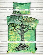 Green Color Dry Tree Cotton Bedding Twin Size Duvet Cover With Pillow case Art