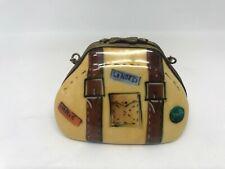 Limoges-Peint Main-Porcelain Trinket Box-Brown Travel Case/Bag/Suitcase