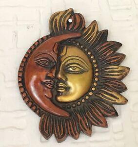 Antique Heavy Brass Sun Moon Ornament Sun Mask wall hanging Garden celestial
