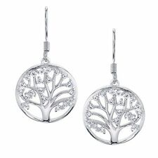 Sterling Silver Family Tree of Life Dangle Drop Earrings with Cubic Zirconias CZ