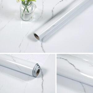 White Marble Wall Sticker Kitchen Cabinet Oil Proof Waterproof Aluminum Foil 16'