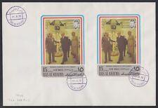 1972 Ras al Khaima FDC Visit of Pompidou Cape Kennedy Space Weltraum [brd728]