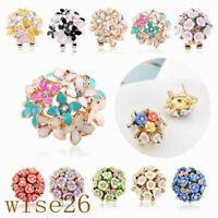 1 Pair Elegant Women Flower Crystal Rhinestone Ear Stud Fashion Earrings Jewelry