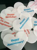 12 Personalised Heart Shape Edible Rice Paper Cake/Cupcake Toppers Pre Cut