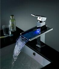 Chrome LED Waterfall Colors Changing Bathroom Basin Mixer Sink Faucet - HDD725