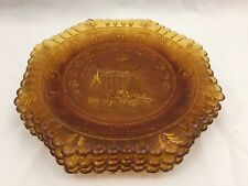 LOT OF 3 AMBER GLASS PLATES-AMERICAN BALD EAGLE WITH SHIELD CREST & OLIVE BRANCH
