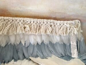 Pottery Barn Teen Boho Feather Rope Garland Decor Blue/Grey Natural Sold Out!