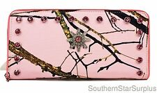 Pink Mossy Oak Camo Western Wallet~Rhinestone Spur Clutch for Womens Purse