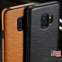 For Samsung Galaxy S10/S9/S8 Plus SLIM Leather Back Thin TPU Case Cover Note 9/8